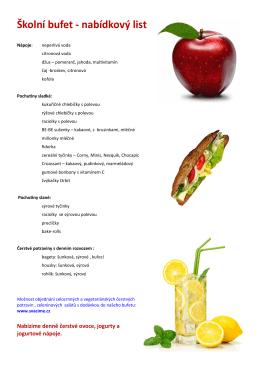Školní bufet - nabídkový list 12.5.2015