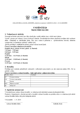 Plán činnosti školní družiny ZŠ Zachar