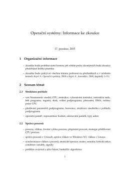 Operacní systémy: Informace ke zkoušce