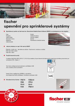 fischer upevnění pro sprinklerové systémy