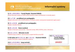 Informační systémy 1) 29. a 30.9.2015