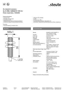 Produktový list indukčního snímače do Ex prostředí Ex IS M8 B