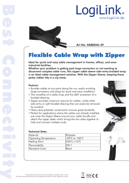 Flexible Cable Wrap with Zipper