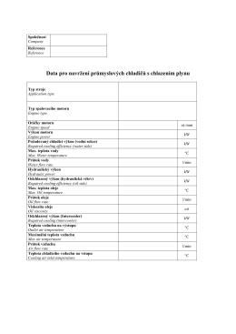 Aplikační formulář pro výběr průmyslových chladičů