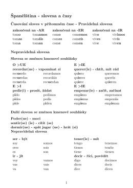 Španelština - slovesa a casy