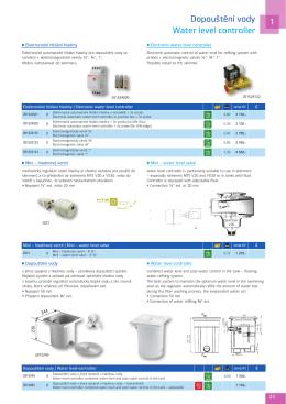 Dopouštění vody Water level controller