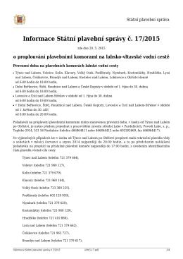 Informace SPS č. 17/2015 o proplavování PK na lab.