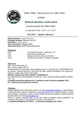 Klubové zkoušky z vodní práce 16.8.2015