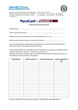 NycoCard Reader provozní deník