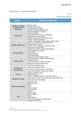 Orientační osnova - MS Excel - kompletní přehled