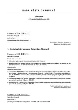 Výpis usnesení z jednání č. 21 ze dne 22. července 2015