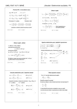 UMEL FEKT VUT V BRNĚ J.Boušek / Elektronické součástky / P3 1