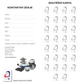 soutěžní karta kontaktní ÚDaJE