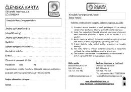 Členská karta CIT  - přihláška na aktivity