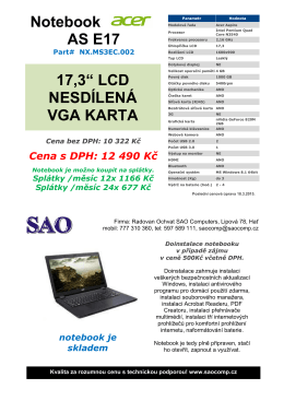 "Notebook AS E17 17,3"" LCD NESDÍLENÁ VGA KARTA"