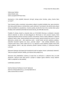 V Praze Vinoři 29. března 2015 Vážený pane řediteli, vážená