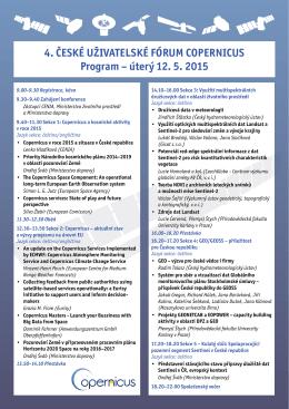 4. ČESKÉ UŽIVATELSKÉ FÓRUM COPERNICUS Program – úterý