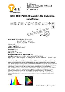 SB3-300 IP20 LED pásek 12W technická specifikace - T