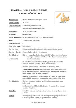 pravidla a harmonogram turnaje 1. opava mölkky open