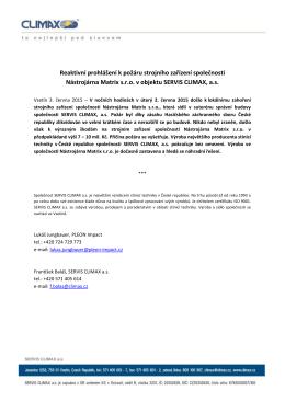 Reaktivní prohlášení k požáru strojního zařízení společnosti