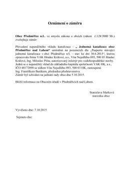 Záměr obce - Předměřice nad Labem