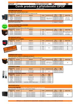 Ceník produktů a příslušenství OPOP