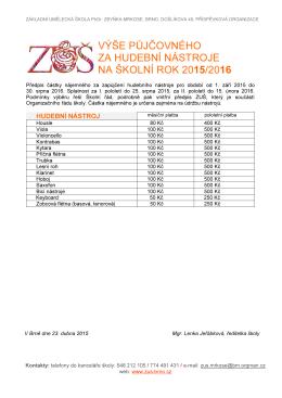 výše půjčovného za hudební nástroje na školní rok 2015/2016