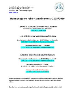 Harmonogram roku 2015-2016 - Vysoká škola aplikované psychologie