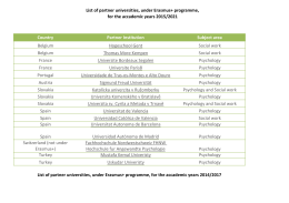 List of partner universities, under Erasmus+ programme, for the