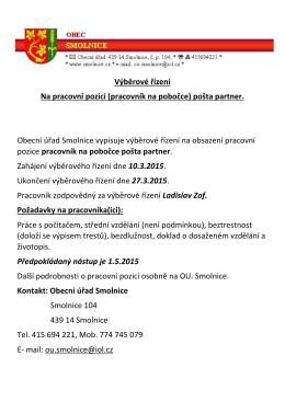 Výběrové řízení Pošta-partner