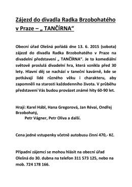 Zájezd do divadla Radka Brzobohatého v Praze