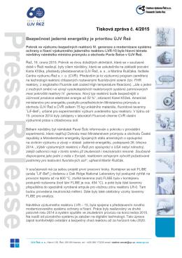Bezpečnost jaderné energetiky je prioritou ÚJV Řež – PDF