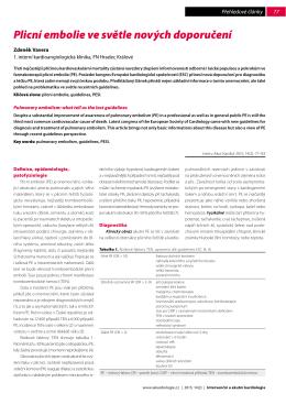 Plicní embolie ve světle nových doporučení