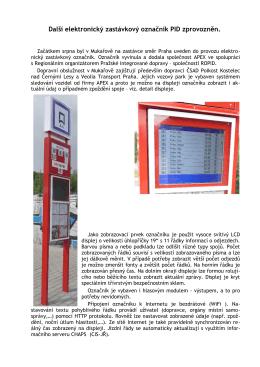 Elektronický zastávkový označník PID v Mukařově