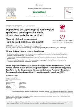 Doporučené postupy Evropské kardiologické společnosti pro