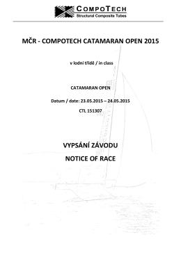 mčr - compotech catamaran open 2015 vypsání závodu notice of race