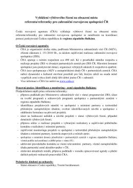 Vyhlášení výběrového řízení na obsazení místa referenta/referentky