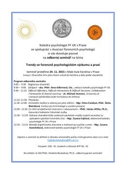 Katedra psychologie FF UK v Praze ve spolupráci s Asociací