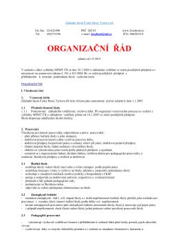 ORGANIZAČNÍ ŘÁD - Základní škola Český Brod