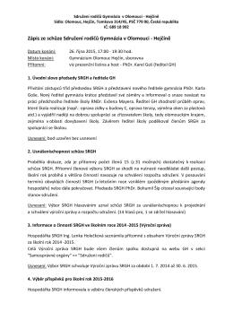 Zápis ze schůze Sdružení rodičů Gymnázia v Olomouci