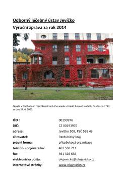 Odborný léčebný ústav Jevíčko Výroční zpráva za rok 2014