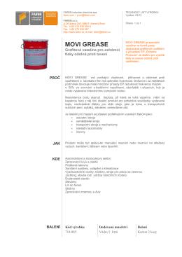 Technický list MOVI GREASE