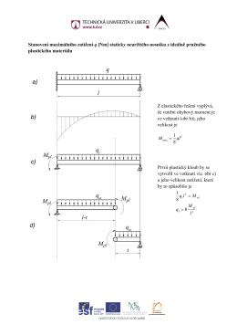 Stanovení maximálního zatížení q [Nm] staticky neurčitého nosníku z