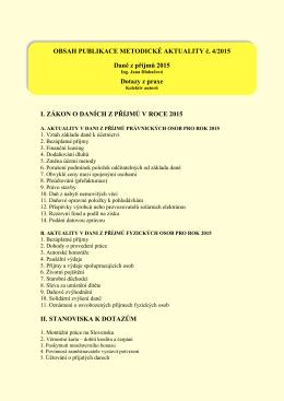OBSAH PUBLIKACE METODICKÉ AKTUALITY č. 4/2015 Daně z
