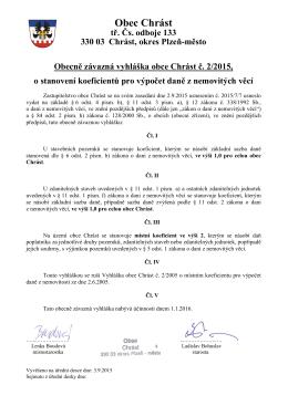 Obecně závazná vyhláška č. 2/2015 o stanovení