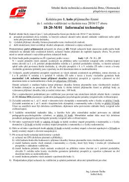 Kritéria přijímacího řízení ()