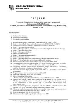 Prohgram jednání zastupitelstva Karlovarského kraje