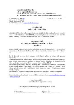Městský úřad Milevsko odbor regionálního rozvoje