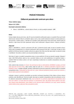 doporučení nezávislé právní poradny Svazu měst a obcí