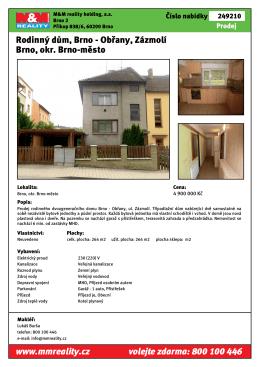 Rodinný dům, Brno - Obřany, Zázmolí Brno, okr. Brno